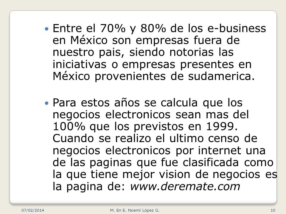 Entre el 70% y 80% de los e-business en México son empresas fuera de nuestro pais, siendo notorias las iniciativas o empresas presentes en México prov