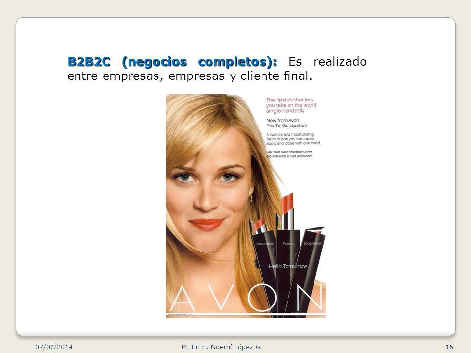 B2B2C (negocios completos): B2B2C (negocios completos): Es realizado entre empresas, empresas y cliente final. 07/02/2014 16M. En E. Noemí López G.