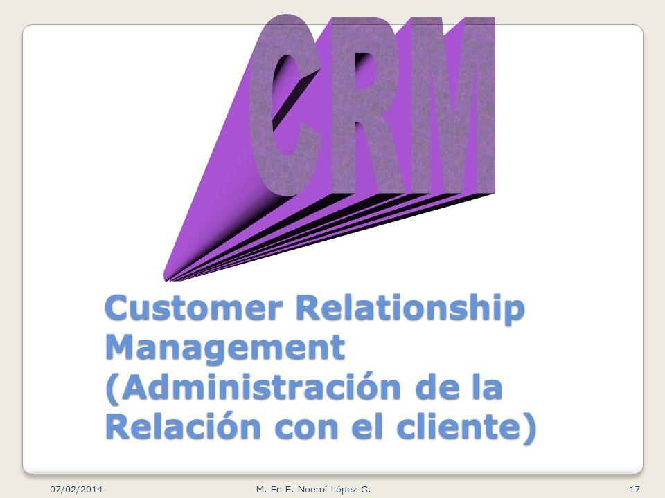 Customer Relationship Management (Administración de la Relación con el cliente) 07/02/2014 17M. En E. Noemí López G.