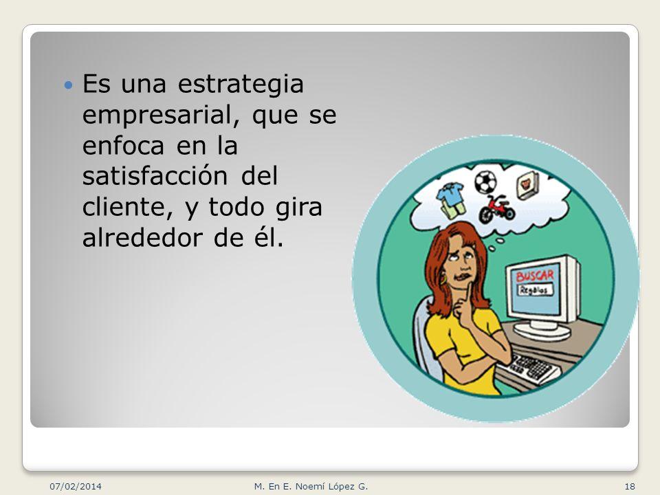 Es una estrategia empresarial, que se enfoca en la satisfacción del cliente, y todo gira alrededor de él. 07/02/2014 18M. En E. Noemí López G.