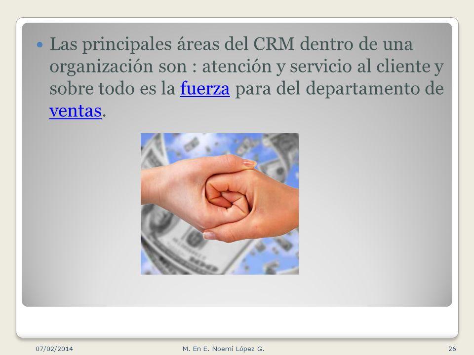Las principales áreas del CRM dentro de una organización son : atención y servicio al cliente y sobre todo es la fuerza para del departamento de venta