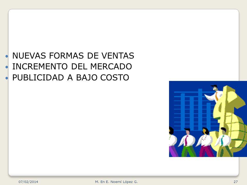 NUEVAS FORMAS DE VENTAS INCREMENTO DEL MERCADO PUBLICIDAD A BAJO COSTO 07/02/2014 27M. En E. Noemí López G.
