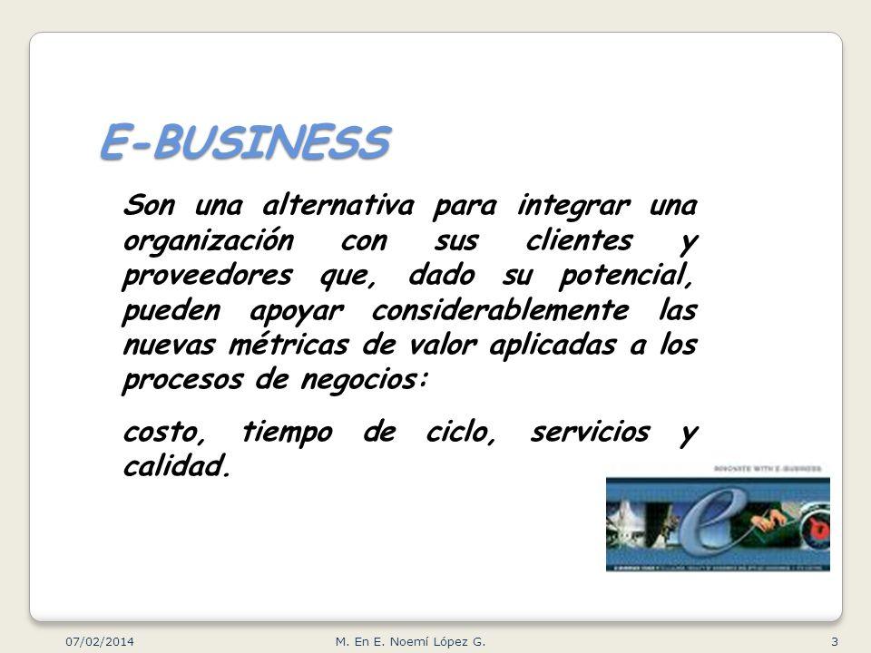 E-BUSINESS Son una alternativa para integrar una organización con sus clientes y proveedores que, dado su potencial, pueden apoyar considerablemente l
