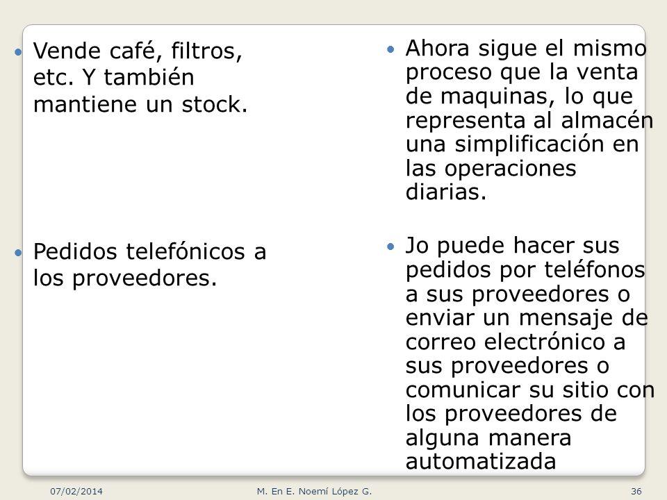 Vende café, filtros, etc. Y también mantiene un stock. Pedidos telefónicos a los proveedores. Ahora sigue el mismo proceso que la venta de maquinas, l
