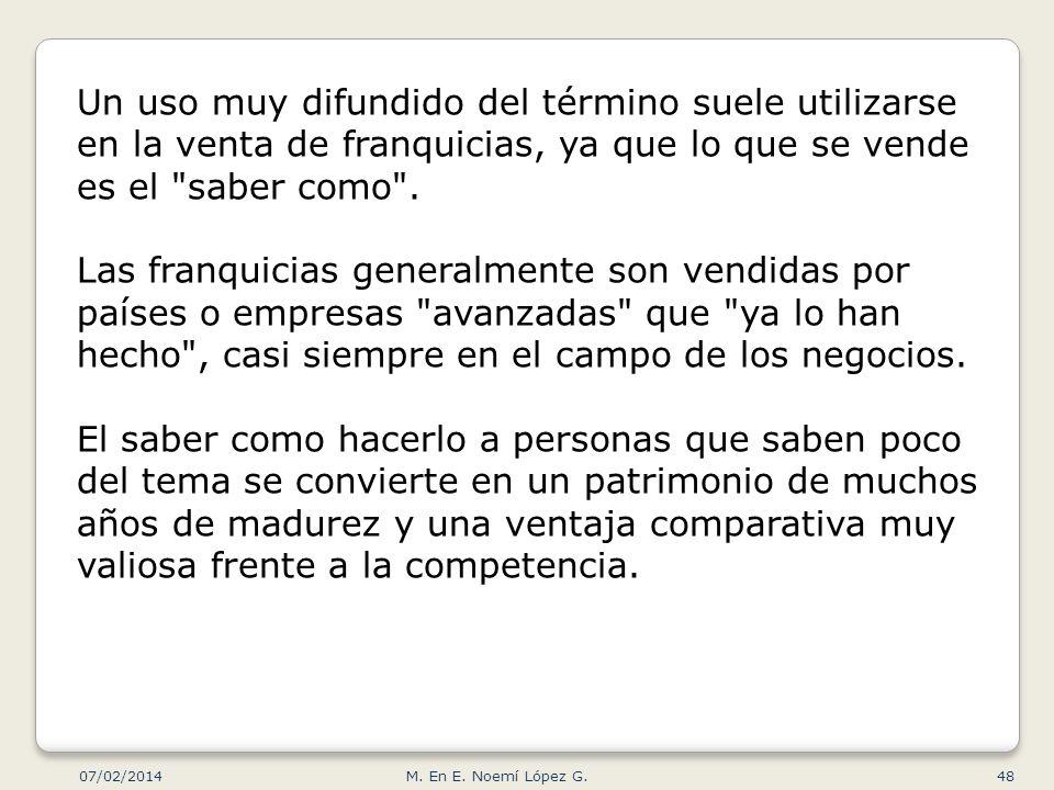 07/02/2014 M. En E. Noemí López G.48 Un uso muy difundido del término suele utilizarse en la venta de franquicias, ya que lo que se vende es el