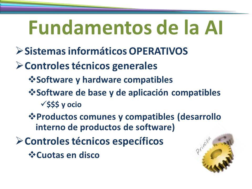 Fundamentos de la AI Sistemas informáticos OPERATIVOS Controles técnicos generales Software y hardware compatibles Software de base y de aplicación co