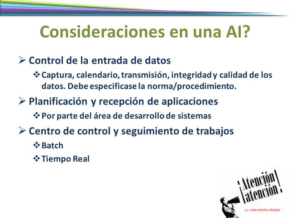 Consideraciones en una AI? Control de la entrada de datos Captura, calendario, transmisión, integridad y calidad de los datos. Debe especificase la no