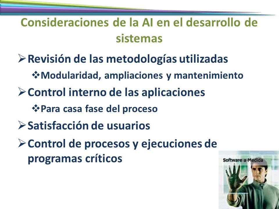 Consideraciones de la AI en el desarrollo de sistemas Revisión de las metodologías utilizadas Modularidad, ampliaciones y mantenimiento Control intern