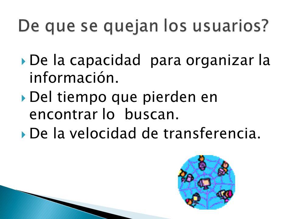 De la capacidad para organizar la información. Del tiempo que pierden en encontrar lo buscan. De la velocidad de transferencia.