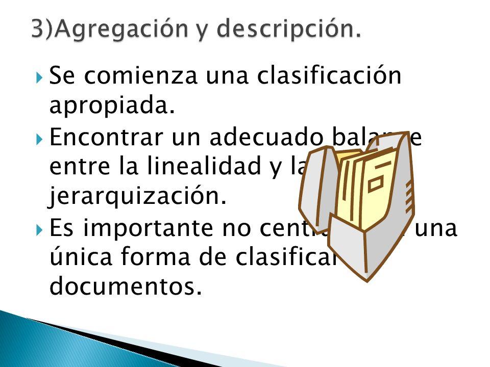 Se comienza una clasificación apropiada. Encontrar un adecuado balance entre la linealidad y la jerarquización. Es importante no centrarse en una únic