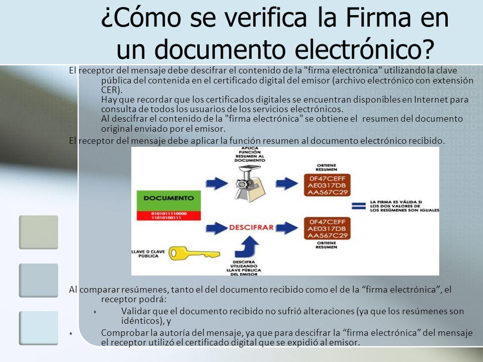 ¿Cómo se verifica la Firma en un documento electrónico? El receptor del mensaje debe descifrar el contenido de la