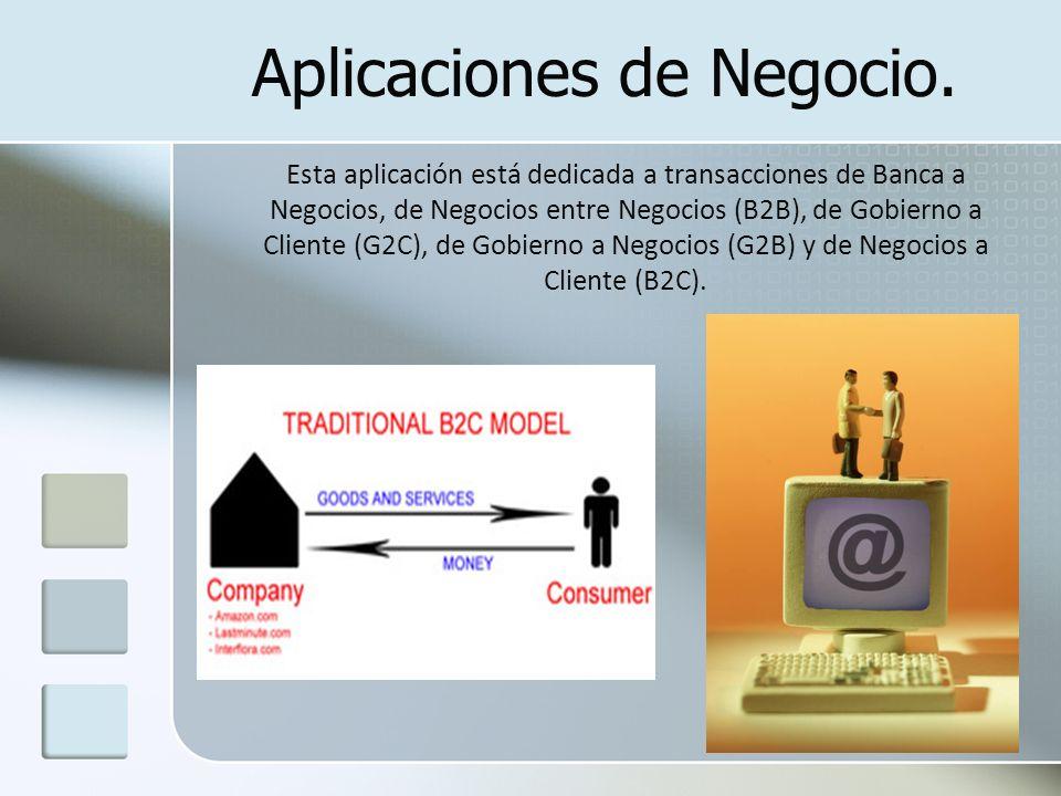 Aplicaciones de Negocio. Esta aplicación está dedicada a transacciones de Banca a Negocios, de Negocios entre Negocios (B2B), de Gobierno a Cliente (G