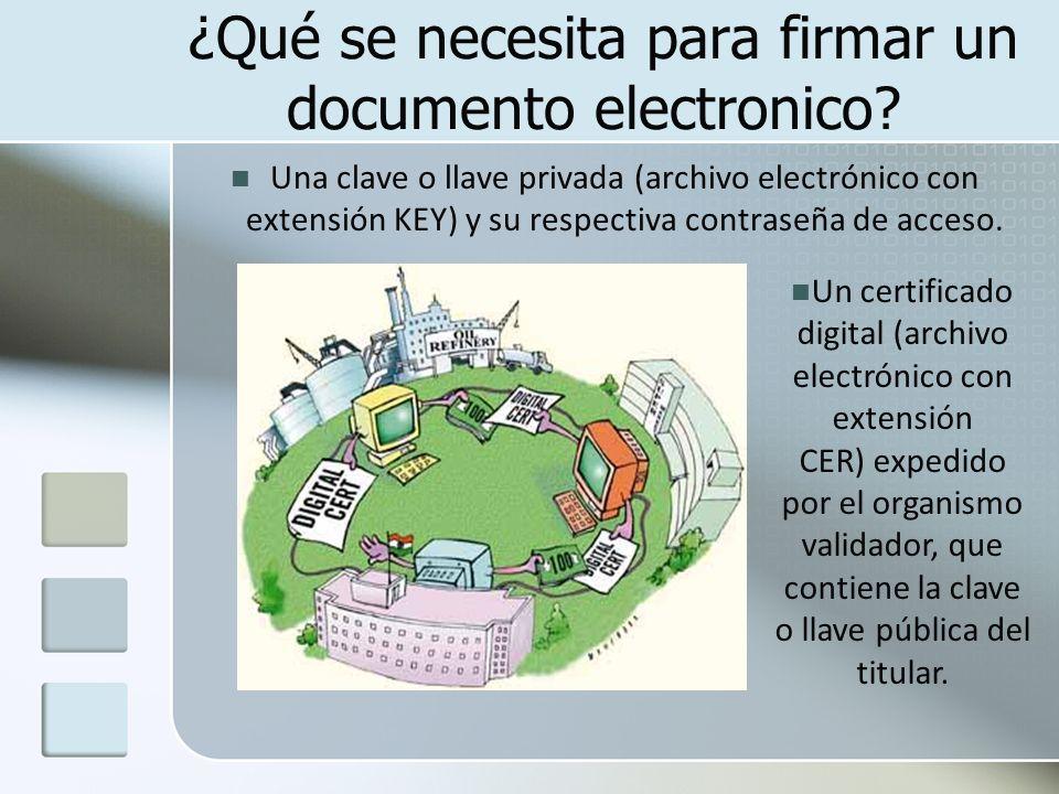¿Qué se necesita para firmar un documento electronico? Una clave o llave privada (archivo electrónico con extensión KEY) y su respectiva contraseña de