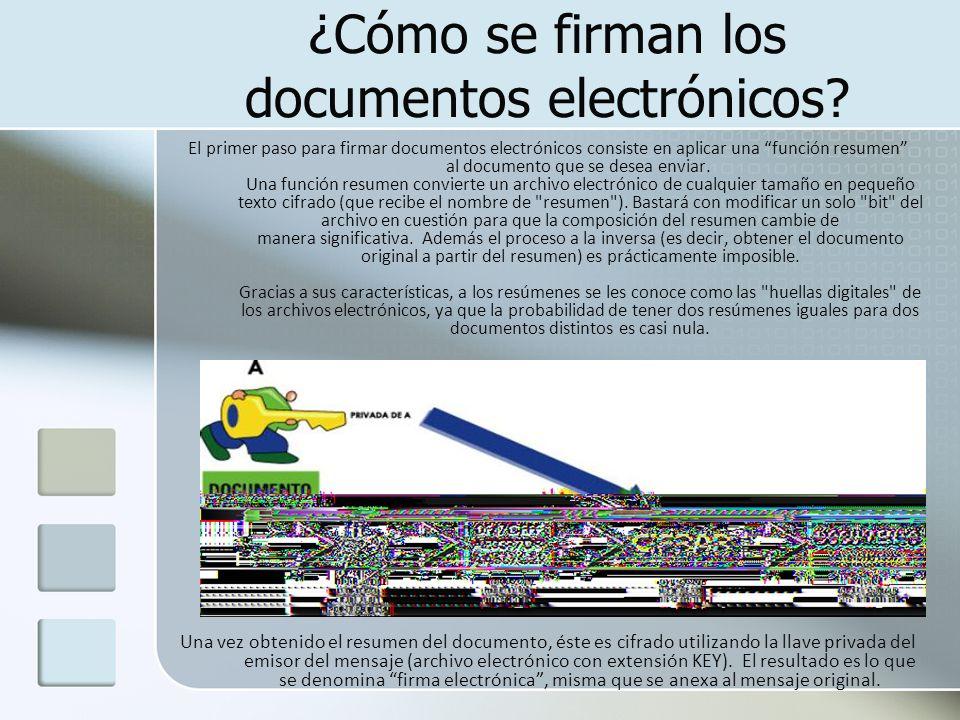 ¿Cómo se firman los documentos electrónicos? El primer paso para firmar documentos electrónicos consiste en aplicar una función resumen al documento q