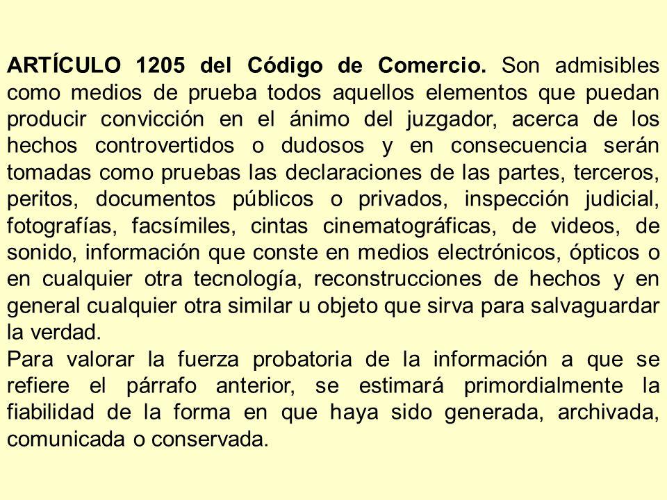 ARTÍCULO 1205 del Código de Comercio.