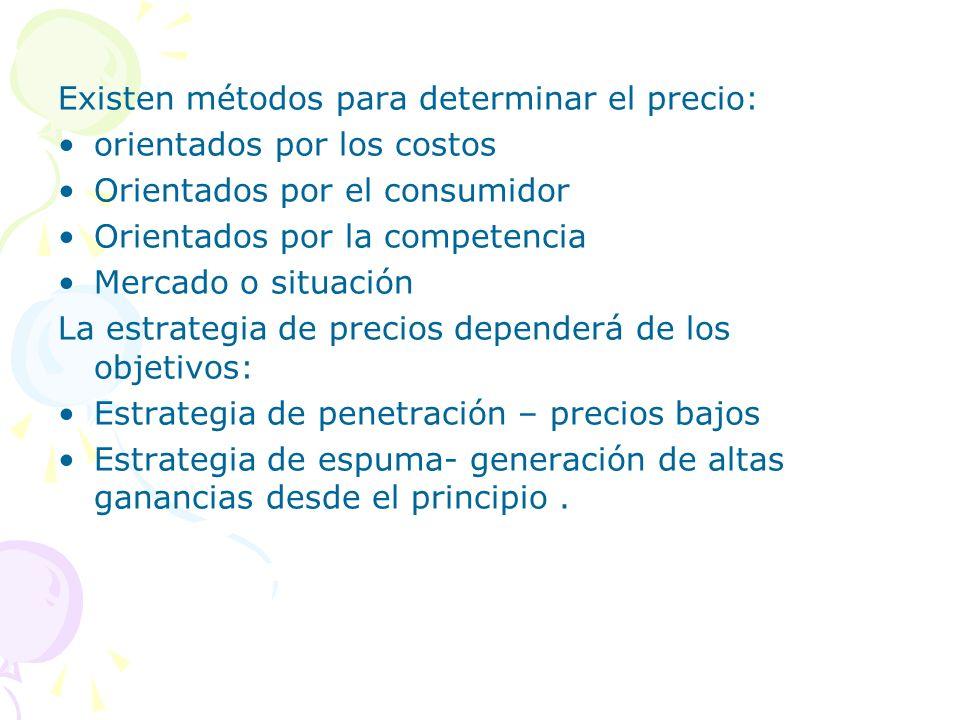 Existen métodos para determinar el precio: orientados por los costos Orientados por el consumidor Orientados por la competencia Mercado o situación La
