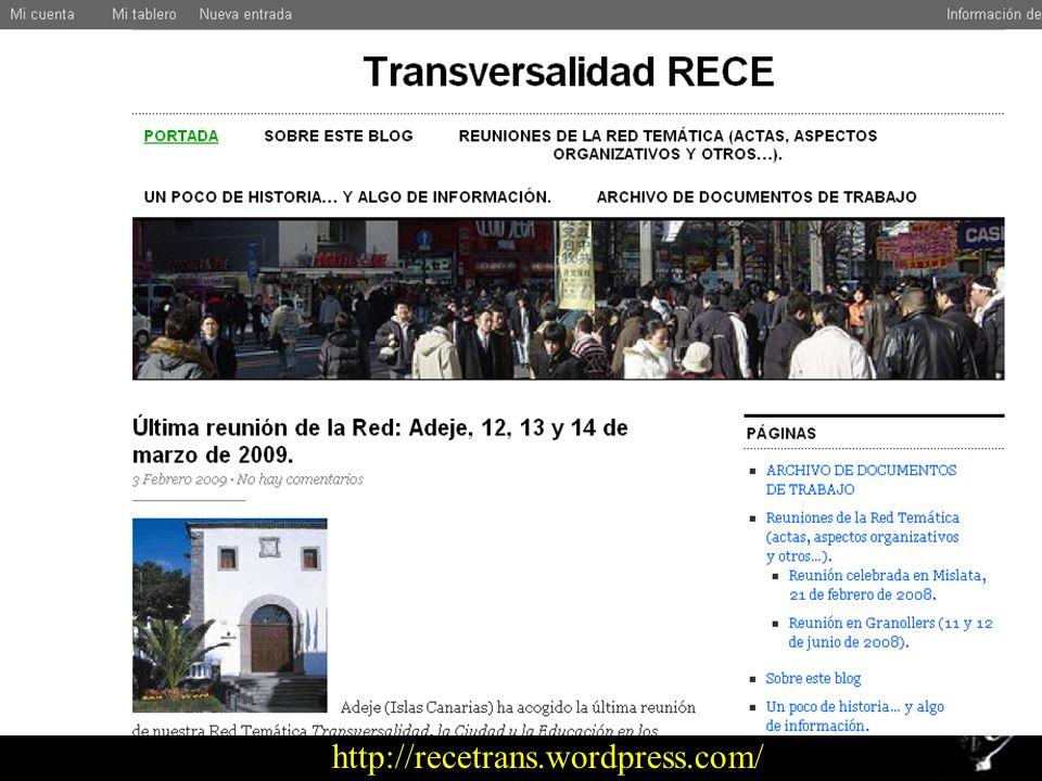Red Temática Transversalidad. La Ciudad y la Educación en los servicios municipales Metodología de trabajo de la Red: instrumentos El blog > Component