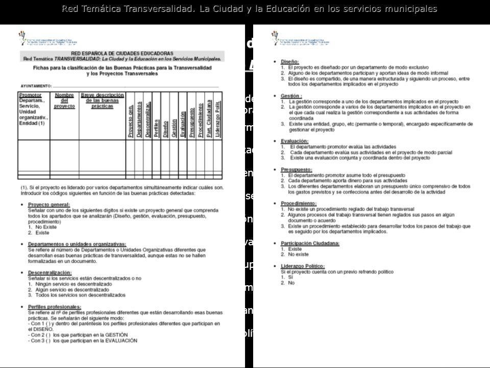 Metodología de trabajo de la Red: instrumentos Los proyectos de buenas prácticas Red Temática Transversalidad. La Ciudad y la Educación en los servici