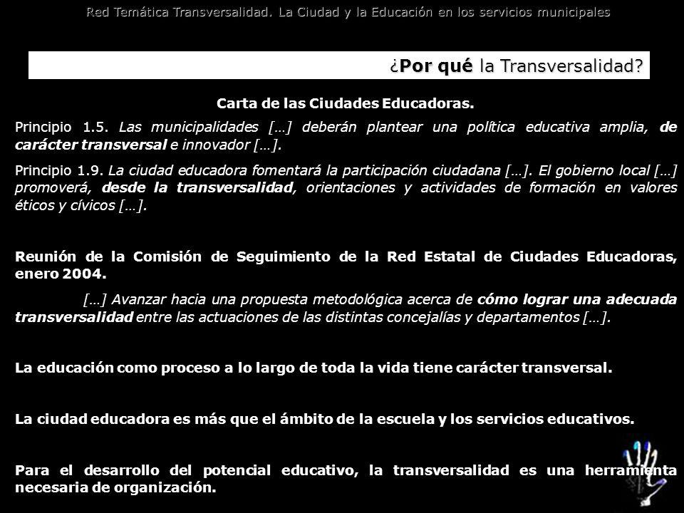 Red Temática Transversalidad. La Ciudad y la Educación en los servicios municipales ¿Por qué la Transversalidad? Carta de las Ciudades Educadoras. Pri