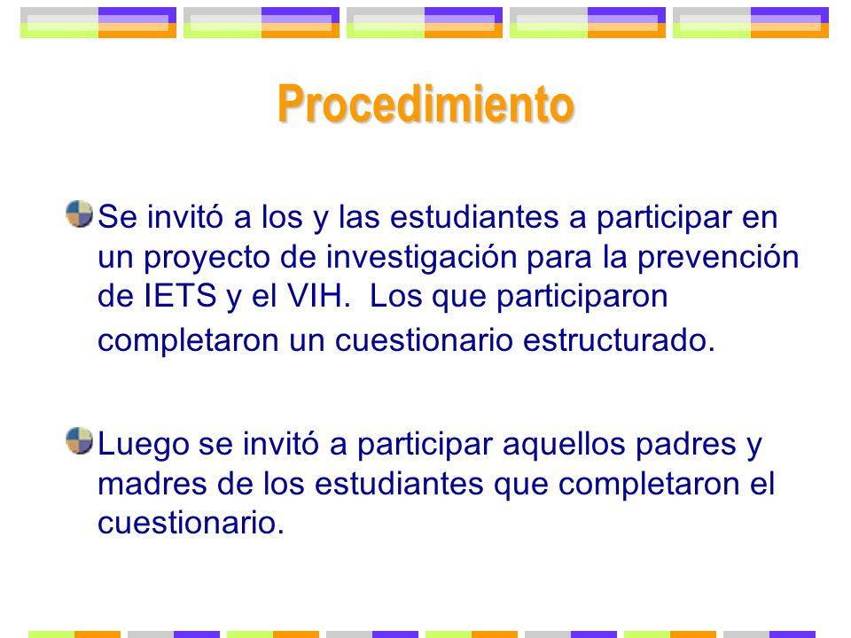 Procedimiento Se invitó a los y las estudiantes a participar en un proyecto de investigación para la prevención de IETS y el VIH. Los que participaron