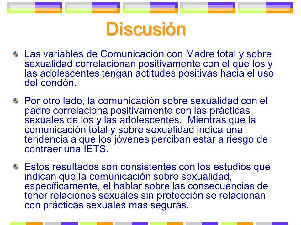 Discusión Las variables de Comunicación con Madre total y sobre sexualidad correlacionan positivamente con el que los y las adolescentes tengan actitu