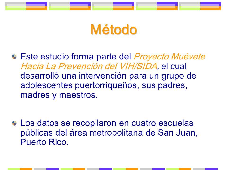 Método En el estudio del Proyecto Mu é vete participaron un total de 240 estudiantes, 40 padres y 75 maestros.