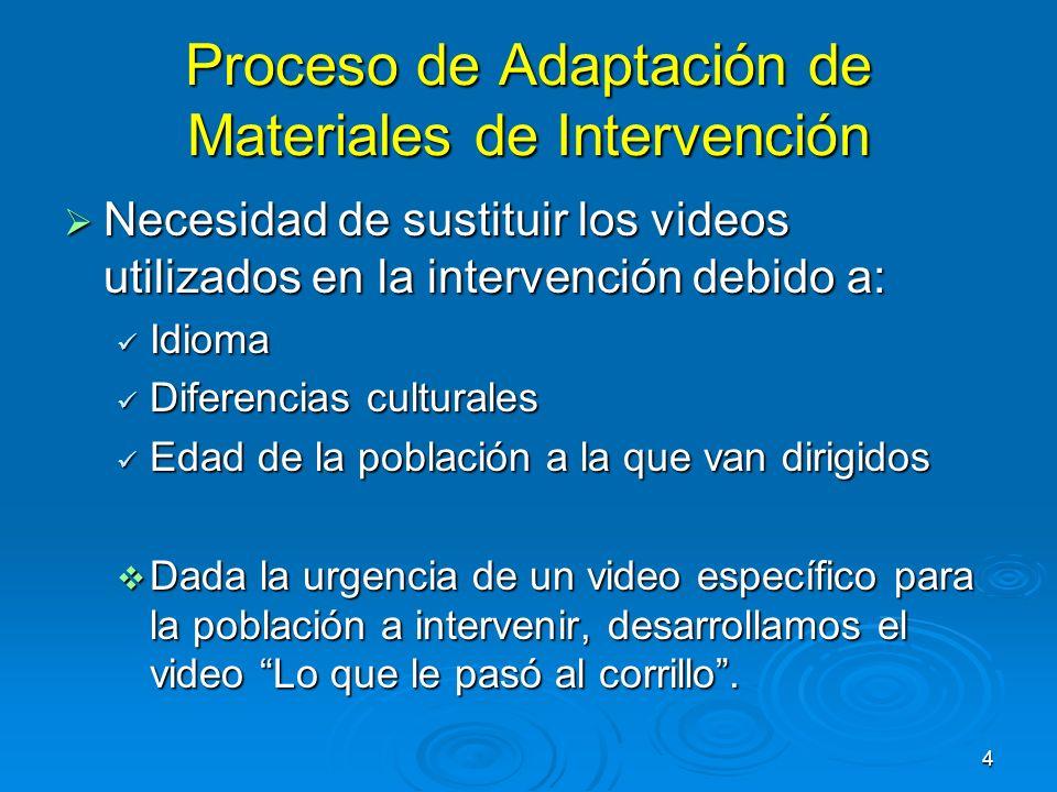 5 Multimedia y Programas de Intervención Estudios demuestran que los programas dirigidos a los/as jóvenes influyen más cuando los mismos reflejan características similares al grupo al cual van dirigidos (Botvin et al., 1995 Castañeda,1994).