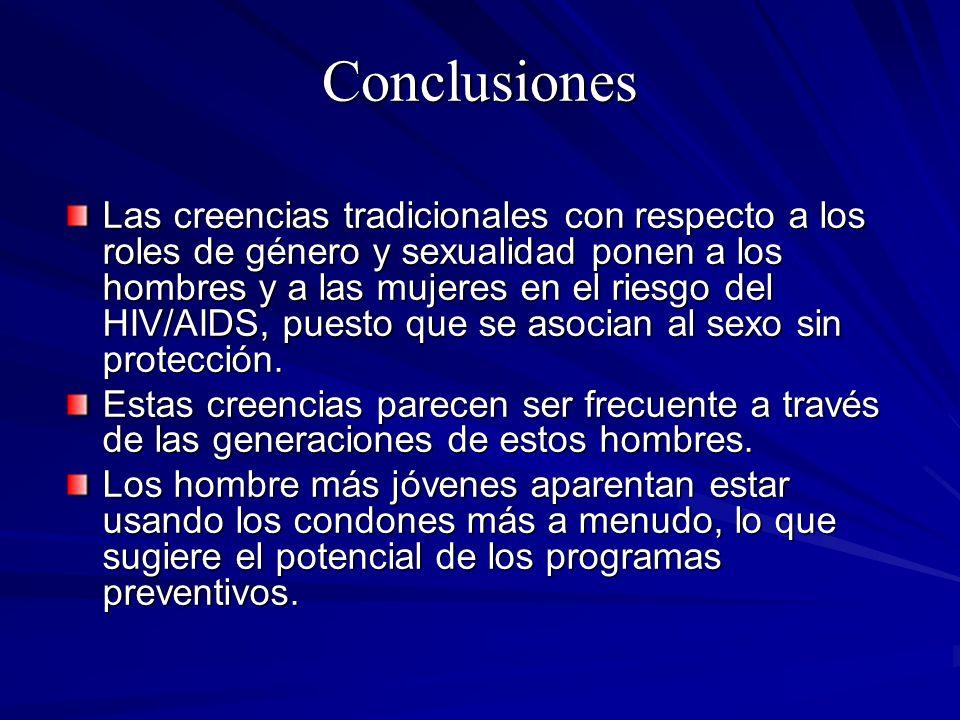 Conclusiones Las creencias tradicionales con respecto a los roles de género y sexualidad ponen a los hombres y a las mujeres en el riesgo del HIV/AIDS