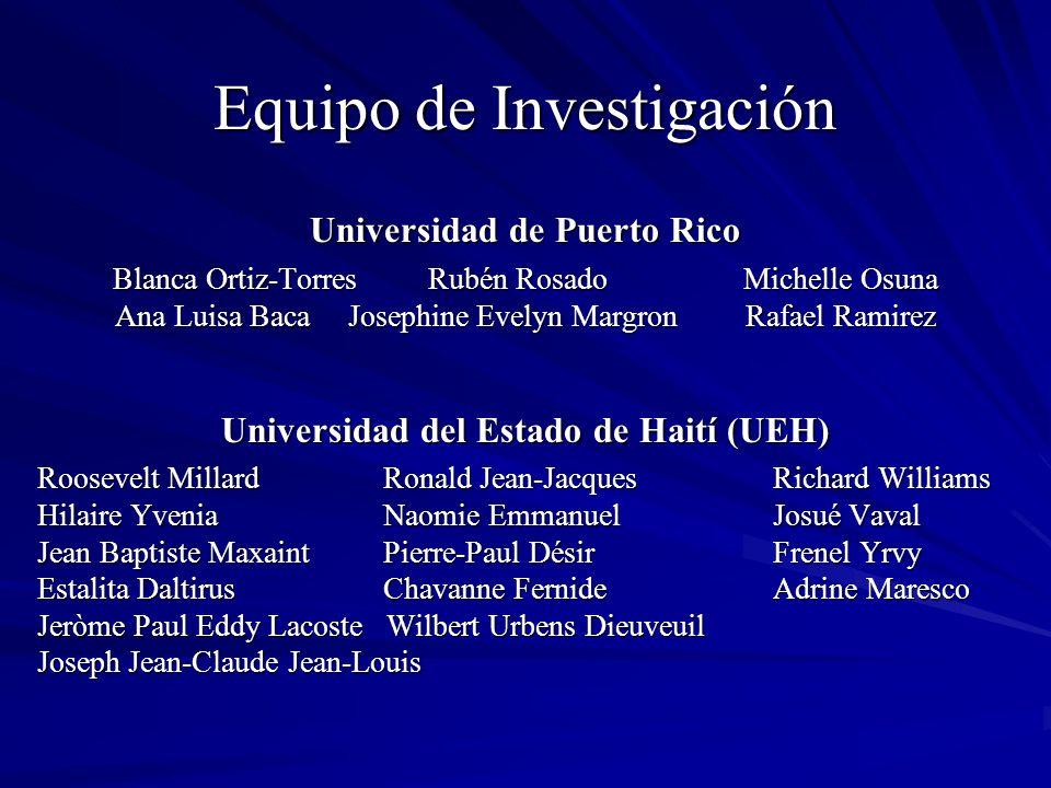 Equipo de Investigación Universidad de Puerto Rico Blanca Ortiz-Torres Rubén RosadoMichelle Osuna Ana Luisa Baca Josephine Evelyn Margron Rafael Ramir