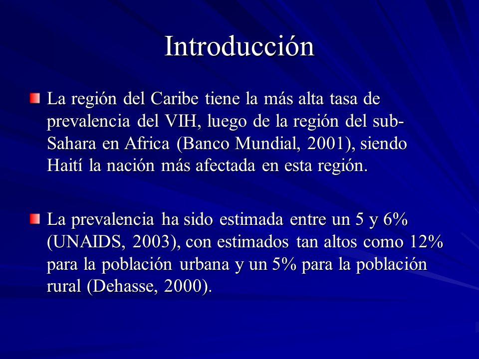 Introducción La región del Caribe tiene la más alta tasa de prevalencia del VIH, luego de la región del sub- Sahara en Africa (Banco Mundial, 2001), s