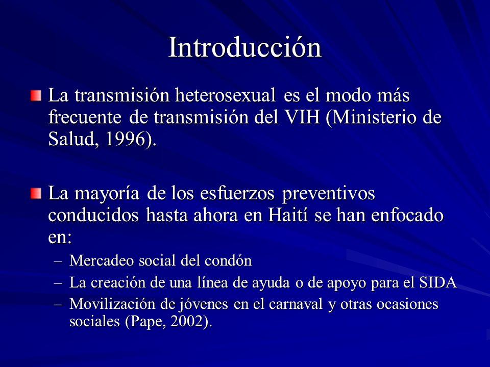 Introducción Un estudio del Instituto Nacional de la Infancia en Haití (2001) ha demostrado que: –los hombres heterosexuales informan 4 veces más ITS que las mujeres –es una práctica frecuente entre hombres heterosexuales tener múltiples parejas sexuales –la mayoría de estos hombres no usa condones La construcción social de la masculinidad en Haití lleva a subrayar el valor sexual que tienen los hombres, así como ciertos tipos de comportamiento masculino, como la constante conquista de mujeres y la práctica de sexo sin protección.
