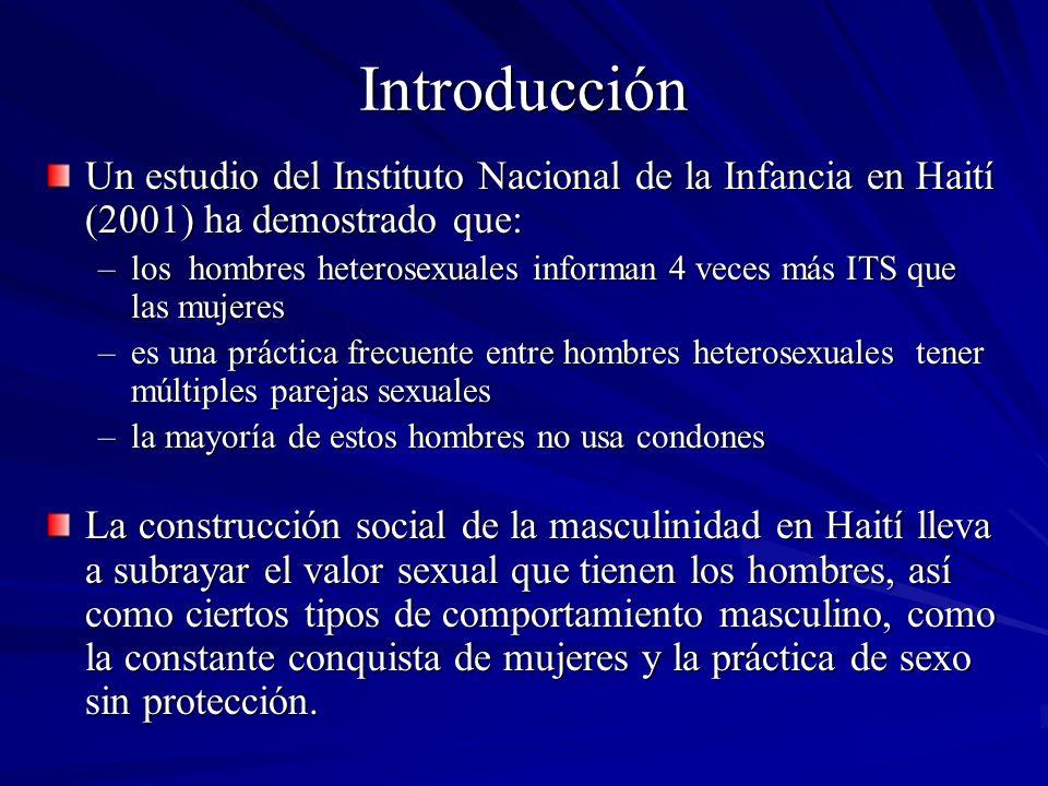Introducción Existe una necesidad urgente desarrollar intervenciones que promuevan la transformación de creencias normativas y las normas sociales e incremente la frecuencia de prácticas de sexo más seguro entre los hombres heterosexuales Un equipo de investigadores/as puertorriqueños/as y haitianos/as han estado desarrollando por los pasados 5 años investigación dirigida a identificar variables que contribuyan a promover la prevención del VIH/SIDA, específicamente entre hombres heterosexuales.