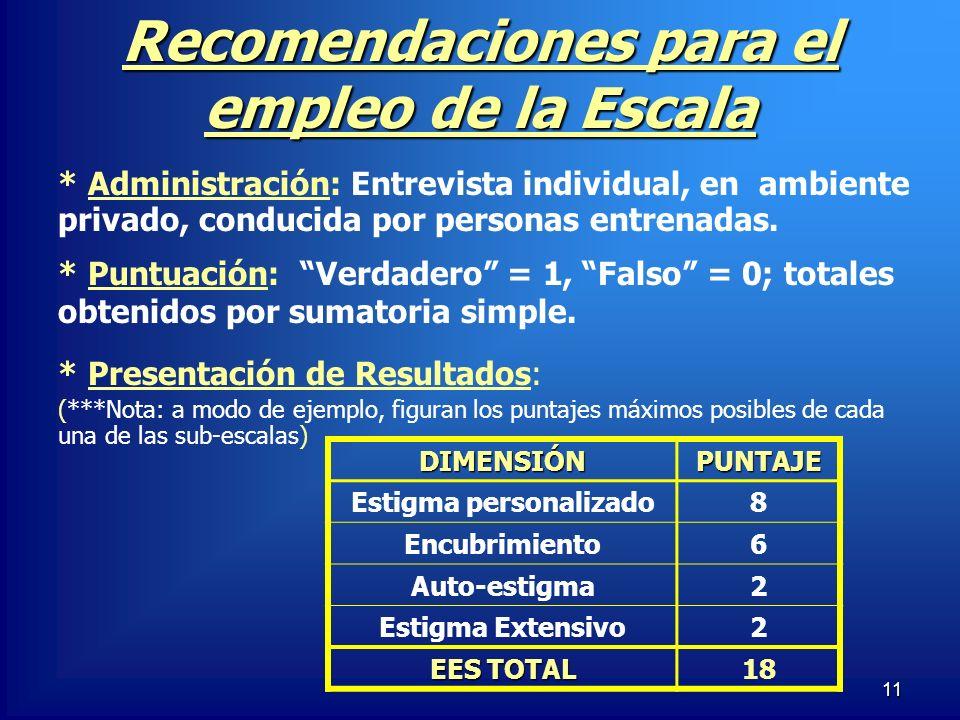 11 Recomendaciones para el empleo de la Escala * Puntuación: Verdadero = 1, Falso = 0; totales obtenidos por sumatoria simple. * Presentación de Resul