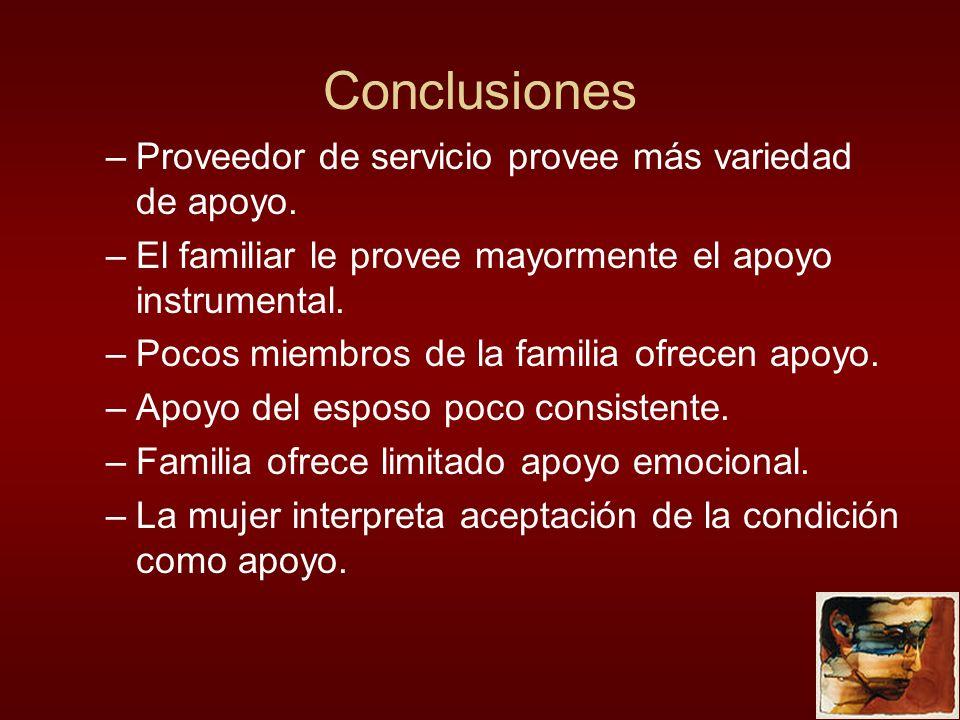 Conclusiones –Proveedor de servicio provee más variedad de apoyo. –El familiar le provee mayormente el apoyo instrumental. –Pocos miembros de la famil