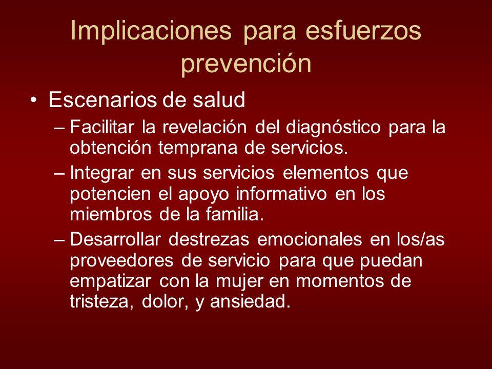 Implicaciones para esfuerzos prevención Escenarios de salud –Facilitar la revelación del diagnóstico para la obtención temprana de servicios. –Integra