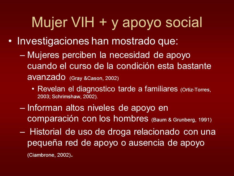 Mujer VIH + y apoyo social Investigaciones han mostrado que: –Mujeres perciben la necesidad de apoyo cuando el curso de la condición esta bastante avanzado (Gray &Cason, 2002) Revelan el diagnostico tarde a familiares (Ortiz-Torres, 2003; Schrimshaw, 2002).