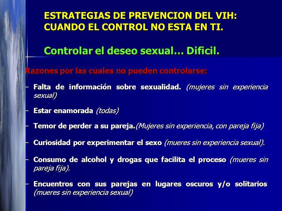 ESTRATEGIAS DE PREVENCION DEL VIH: CUANDO EL CONTROL NO ESTA EN TI. Controlar el deseo sexual… Dificil. Razones por las cuales no pueden controlarse: