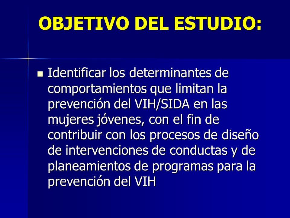 OBJETIVO DEL ESTUDIO: Identificar los determinantes de comportamientos que limitan la prevención del VIH/SIDA en las mujeres jóvenes, con el fin de co