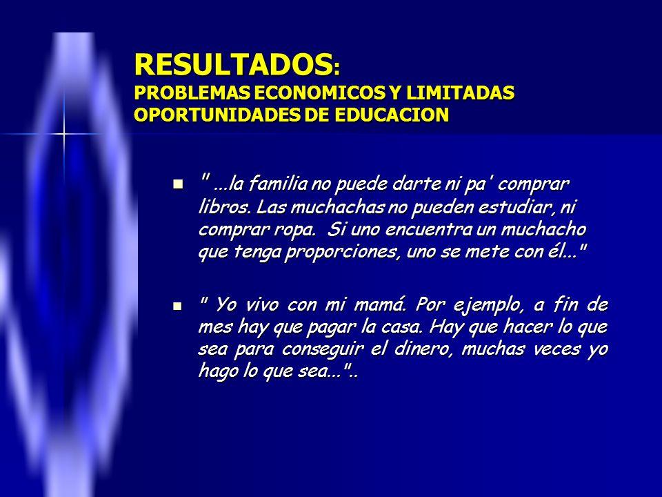 RESULTADOS : PROBLEMAS ECONOMICOS Y LIMITADAS OPORTUNIDADES DE EDUCACION