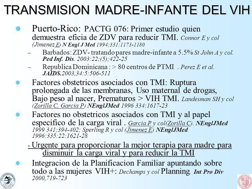 TRANSMISION MADRE-INFANTE DEL VIH Puerto-Rico: PACTG 076: Primer estudio quien demuestra eficia de ZDV para reducir TMI. Connor E y col (Jimenez E) N