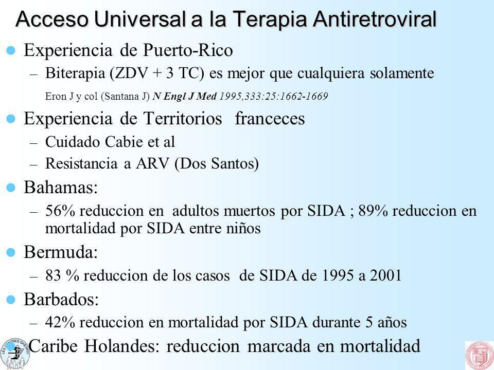 Acceso Universal a la Terapia Antiretroviral Experiencia de Puerto-Rico – Biterapia (ZDV + 3 TC) es mejor que cualquiera solamente Eron J y col (Santa
