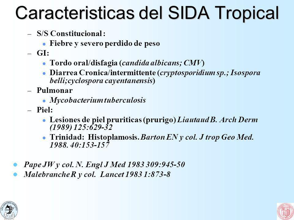 Caracteristicas del SIDA Tropical – S/S Constitucional : Fiebre y severo perdido de peso – GI: Tordo oral/disfagia (candida albicans; CMV) Diarrea Cro