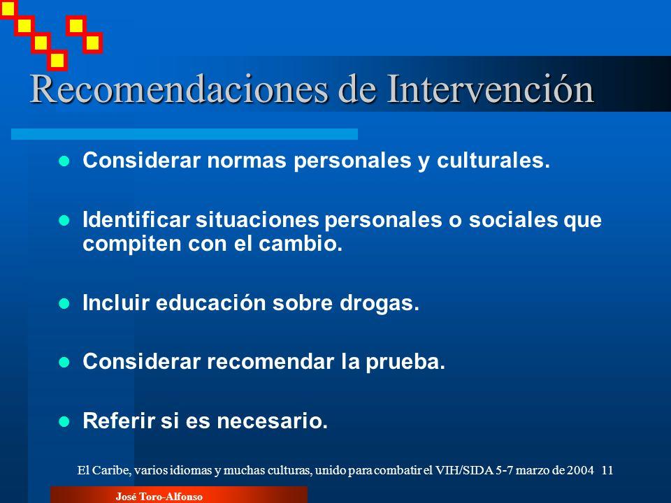 José Toro-Alfonso El Caribe, varios idiomas y muchas culturas, unido para combatir el VIH/SIDA 5-7 marzo de 200411 Recomendaciones de Intervención Considerar normas personales y culturales.