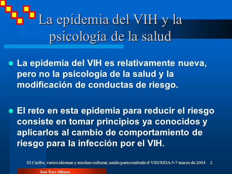 José Toro-Alfonso El Caribe, varios idiomas y muchas culturas, unido para combatir el VIH/SIDA 5-7 marzo de 20042 La epidemia del VIH y la psicología
