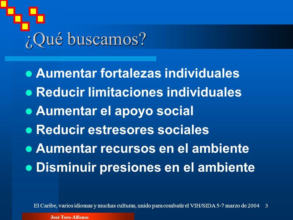 José Toro-Alfonso El Caribe, varios idiomas y muchas culturas, unido para combatir el VIH/SIDA 5-7 marzo de 200414 Implicaciones para la investigación indicadores de que los modelos congnitivos- conductuales producen cambios.