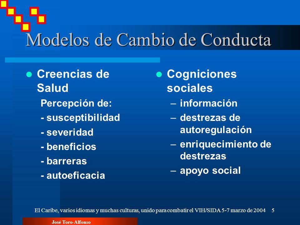 José Toro-Alfonso El Caribe, varios idiomas y muchas culturas, unido para combatir el VIH/SIDA 5-7 marzo de 20045 Modelos de Cambio de Conducta Creenc