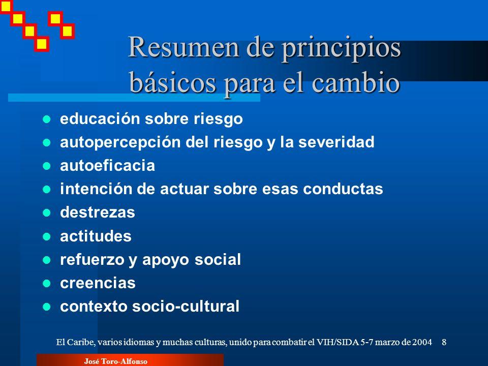 José Toro-Alfonso El Caribe, varios idiomas y muchas culturas, unido para combatir el VIH/SIDA 5-7 marzo de 20048 Resumen de principios básicos para e