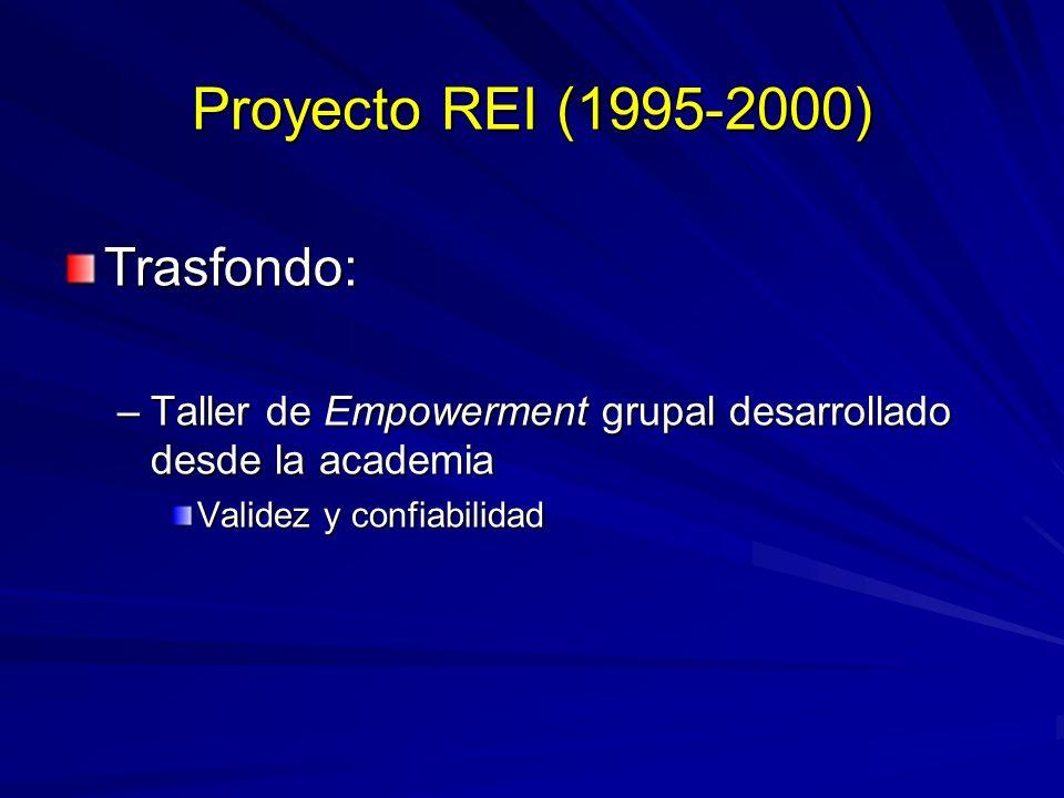 Proyecto REI (1995-2000) Trasfondo: –Taller de Empowerment grupal desarrollado desde la academia Validez y confiabilidad