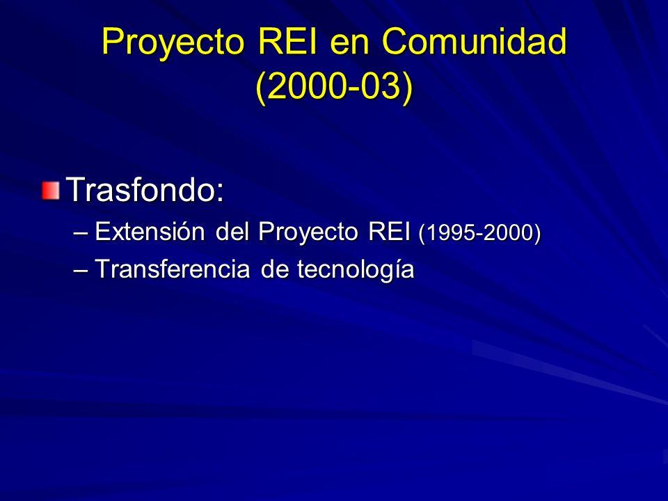 Proyecto REI en Comunidad (2000-03) Trasfondo: –Extensión del Proyecto REI (1995-2000) –Transferencia de tecnología