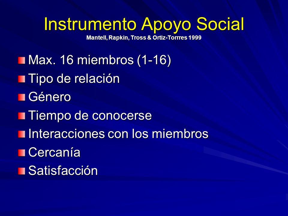 Instrumento Apoyo Social Mantell, Rapkin, Tross & Ortiz-Torrres 1999 Max. 16 miembros (1-16) Tipo de relación Género Tiempo de conocerse Interacciones